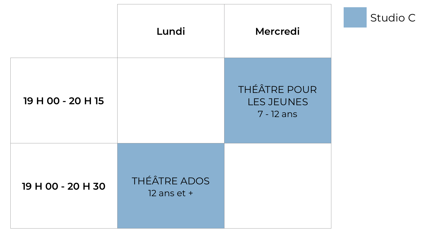 Horaire théâtre 2018-2019